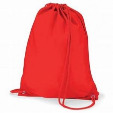 Burnt Oak PE bag with school logo RED