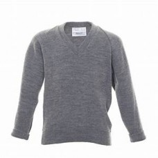 Plain Grey V-Neck Jumper
